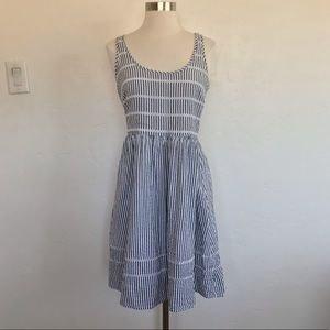 Old Navy Blue & White Seersucker Fitted Dress S